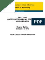 ACCT 2542 Course Outline Part a S2 2013