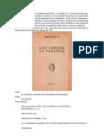 Ley de La Vagancia