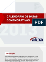 Calendario Datas Comemorativas 2013