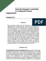 Democratic Rural Development- Leadership Accountability in Regional Peasant Organizations