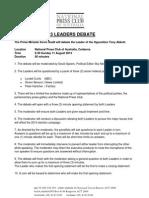 2013 Leaders Debate Rules