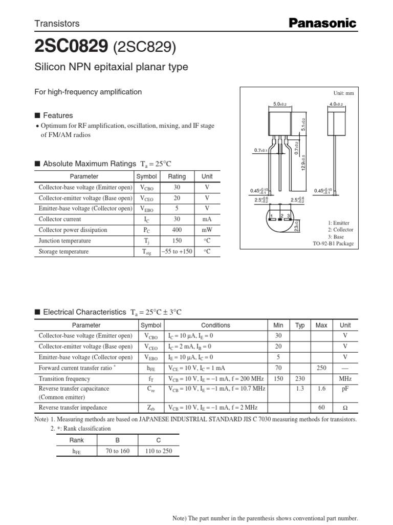 C829 Transistor Datasheet Ebook Download