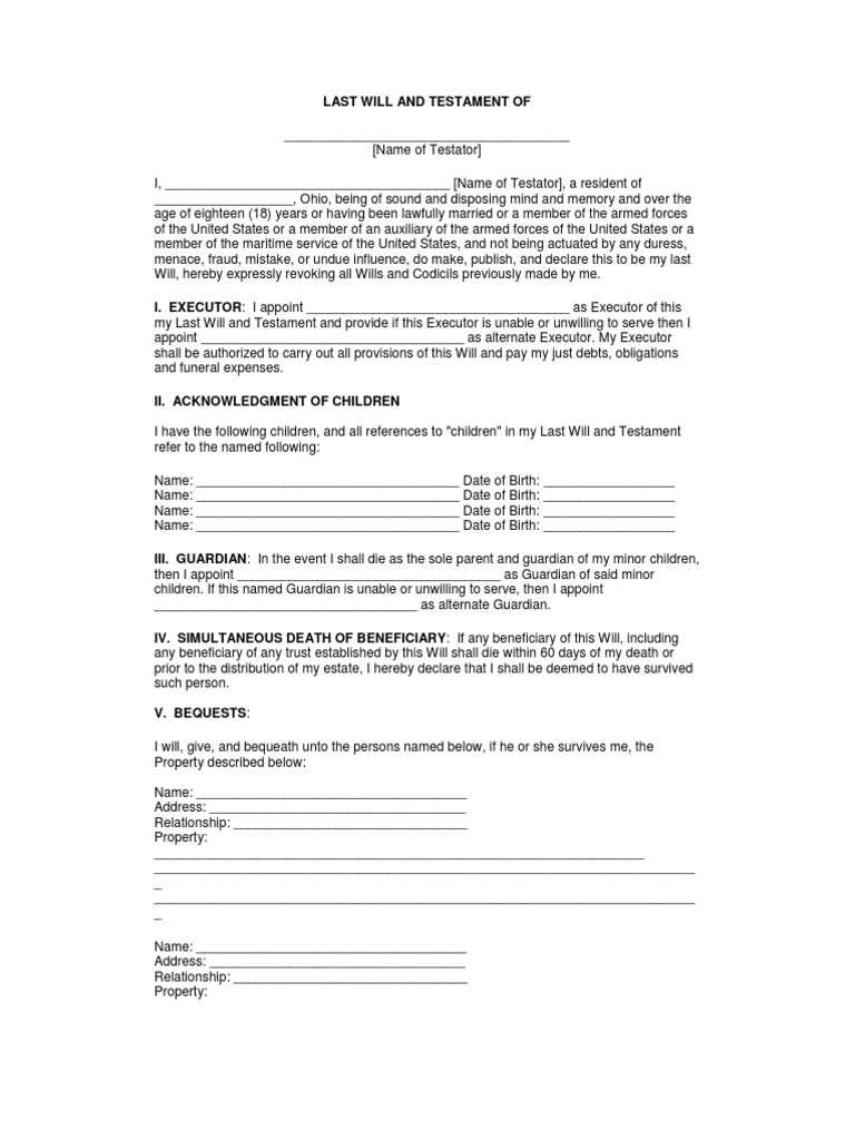 Last Will And Testament Single Adult With Minor Children Including