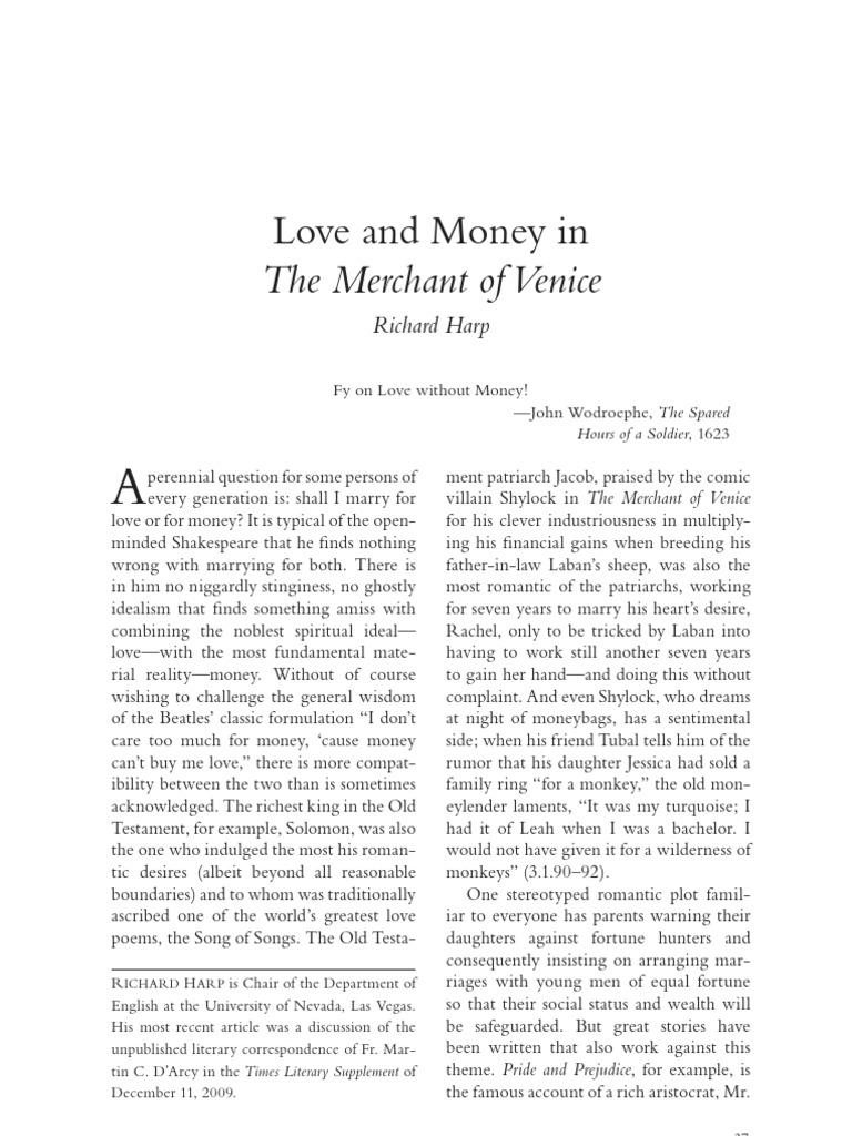 Merchant of venice critical essay