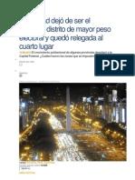 La Ciudad dejó de ser el segundo distrito de mayor peso electoral y quedó relegada al cuarto lugar