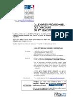 Calendrier Concours CASVP 1er Semestre 2013