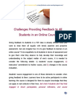 Challenges Providing Feedback to All Students in an Online Course