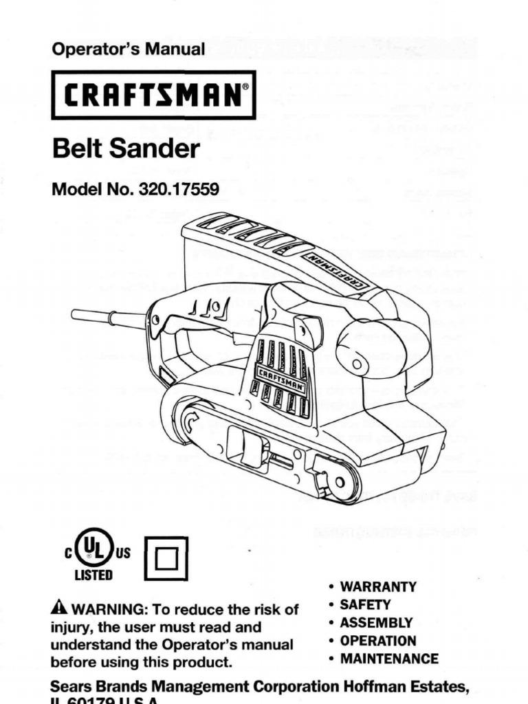 Craftsman Belt Sander Model 320.17559 Operator's Manual