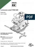 Craftsman Cordless Laser Trim Saw Model 315.115780.pdf