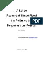 A LRF e a Polêmica das Despesas com Pessoal