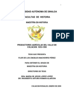 Tesis Productores Agricolas Del Valle de Culiacan, 1933-1958