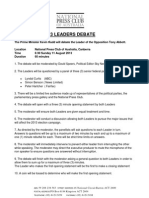 2013 Leaders Debate Rules 4pm Release PDF