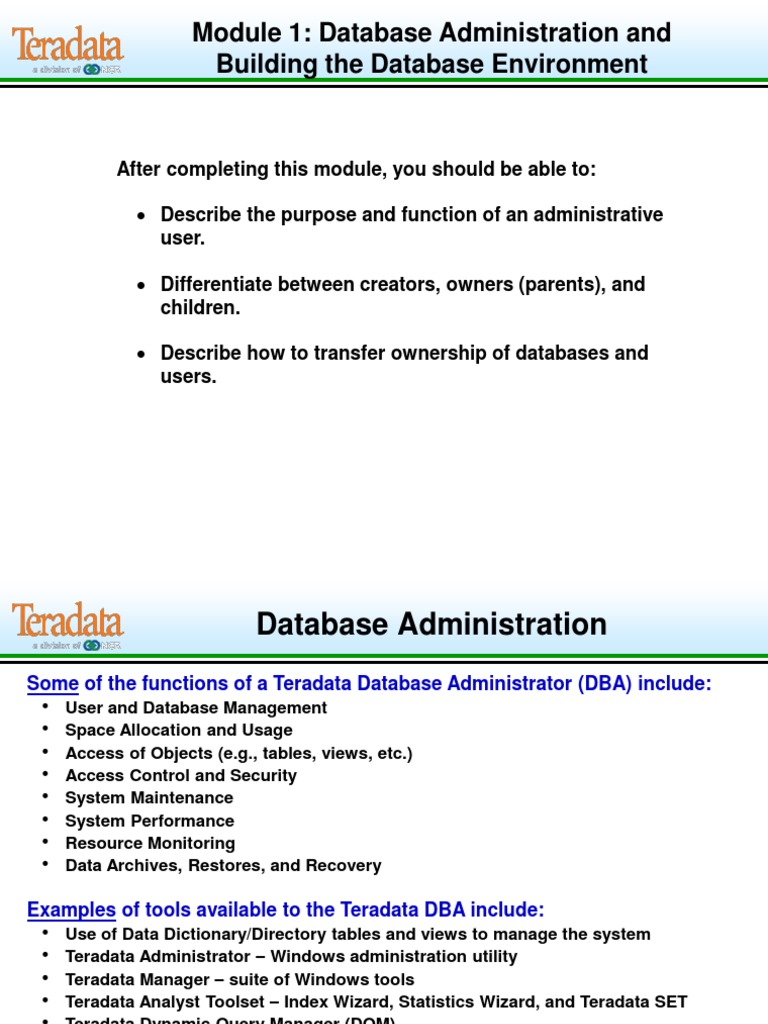 B401 Admin Env Databases Information Retrieval Database Access Control And Security