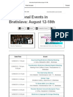 International Events Bratislava August 12-18th