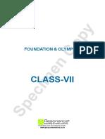 Class VII FOUNDATION & OLYMPIAD