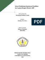 Perancangan Sistem Pendukung Keputusan Pemilihan Laptop Metode AHP