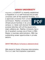 Mba in Madhav University