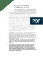 UN Security Council Resolutions on Darfur, Sudan