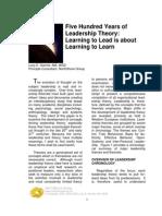 500 Years of Leadership Theory