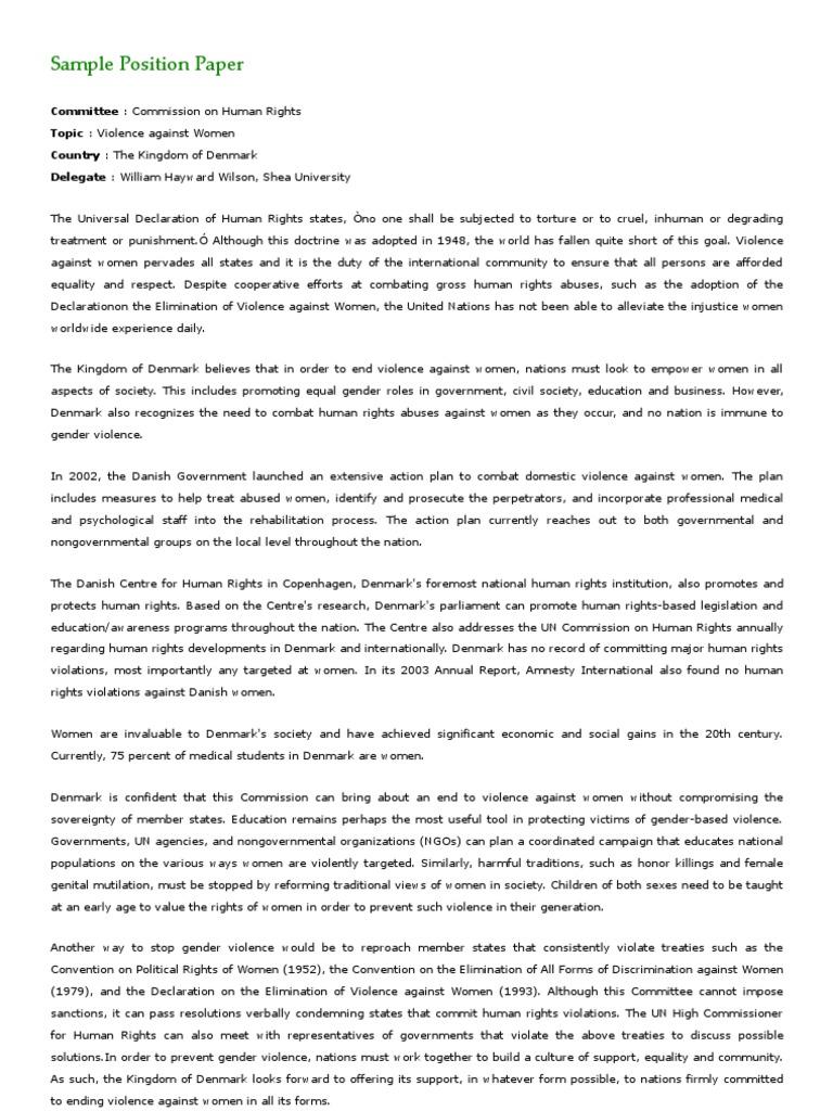 Position paper format marcos de niza model united nations.