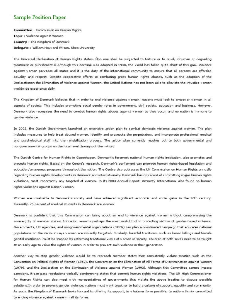 example of position paper about education
