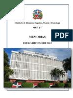 Memoria Ministerio de Educación Superior, Ciencia y Tecnología 2012