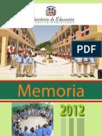 Memoria Ministerio de Educación 2012