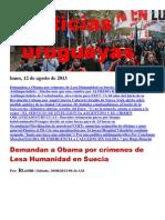 Noticias Uruguayas Lunes 12 de Agosto Del 2013
