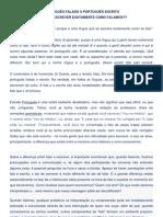 PORTUGUÊS FALADO X PORTUGUÊS ESCRITO