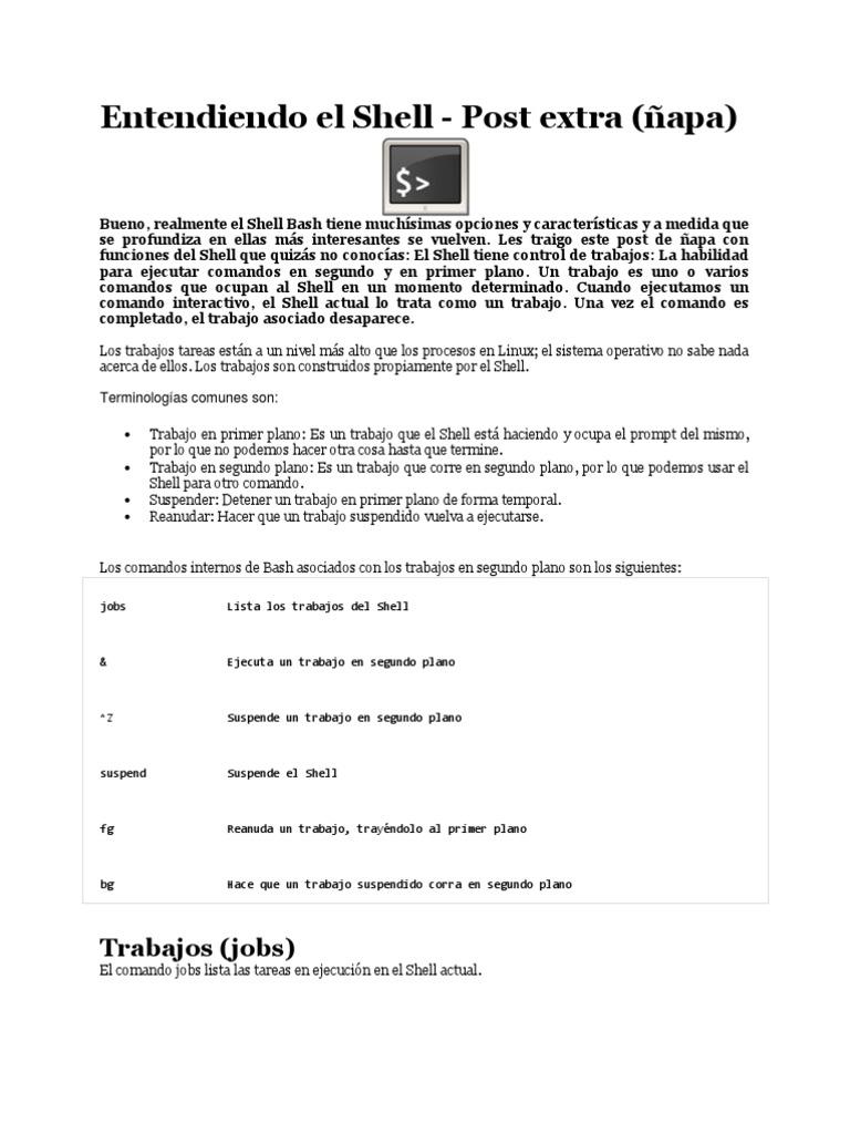 Linux Shell Segundo Plano
