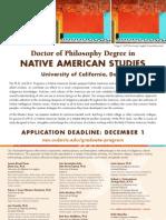 Recruitment Poster, UC Davis Native American Studies Program