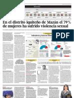 En el distrito iquiteño de Mazán el 79% de mueres ha sufrido violencia sexual