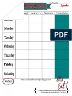 Weekly Menu Plan Printable- September Theme