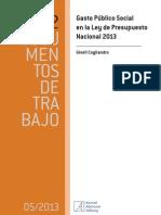 Cogliandro - Gisell - Gasto Público Social en la Ley de Presupuesto Nacional 2013