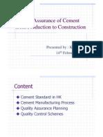 Quailty Assurance of Cement