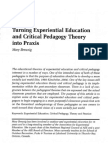 Turning Experiential Education and Critical Pedagogy Theory into Praxis