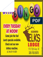 Elk's Lodge Bar Bingo Every Tuesday at Noon