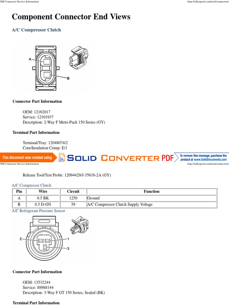 GM Connector Service Information | Electrical Connector | Switch