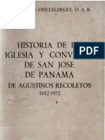 Oficialdegui, Alfonso - Historia de La Iglesia de San Jose de Panama