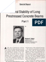 Lateral Stability of Long Prestressed Concrete Beams - Part 1