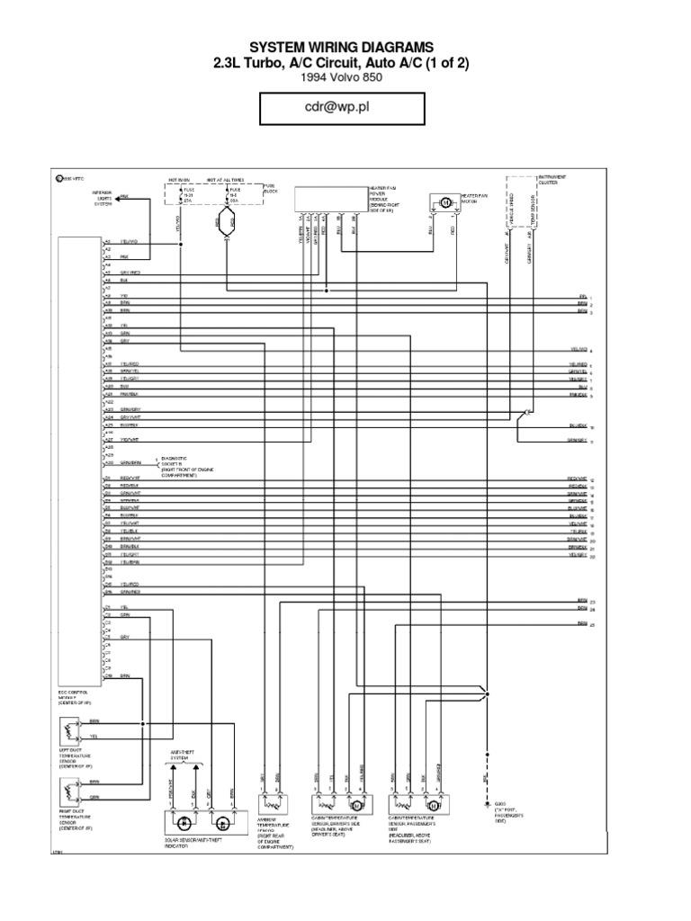 Volvo 850 Wiring Diagrams - 1994 | Rear Wheel Drive ...