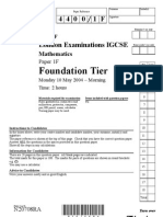 IGCSE Mathematics 4400 May 2004 Question Paper and Mark Scheme Paper 1F N20708