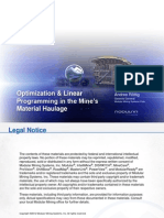Optimization Linear Programming in the MineCus Material Haulage