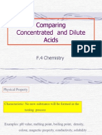 Comparing acids (dilute and strong)