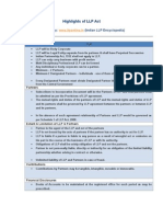 Highlights of LLP Act 2008