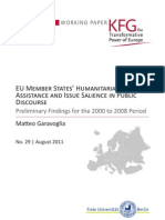 EU Member States' Humanitarian Assistance and Issue Salience in Public Discourse. Preliminary Findings for the 2000 to 2008 Period