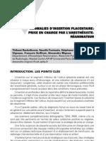 Anomalies d'insertion placentaire - prise en charge par l'anesthésiste-réanimateur