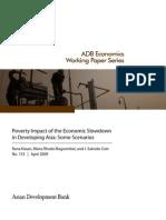 Poverty Impact of the Economic Slowdown in Developing Asia