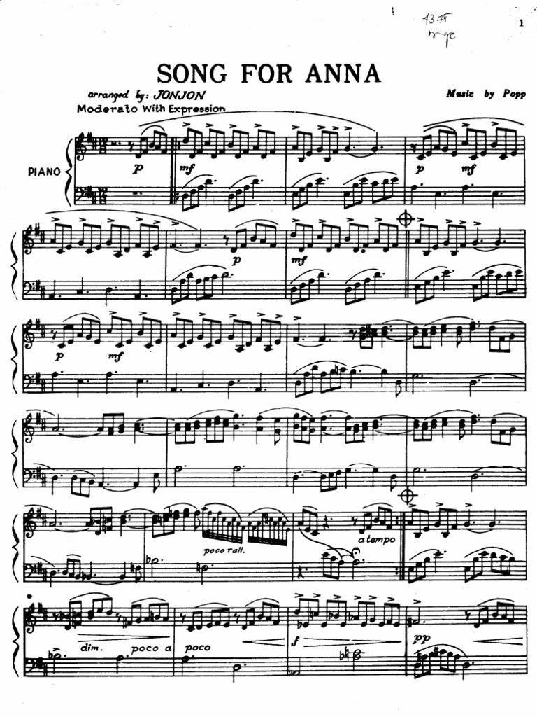 Richard Clayderman Song For Anna Sheetmusictradecom