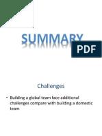 Summary of Global Business Team